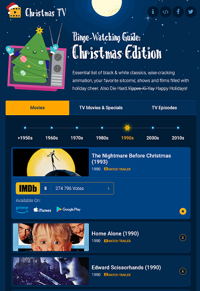 A screenshot of the website showing some of the Christmas movies on offer