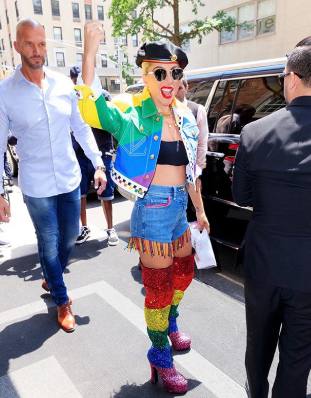 Lady Gaga wearing a Pride inspired outfit