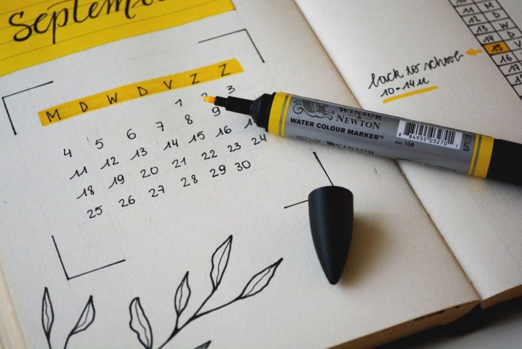 Close up of a handmade calendar in a journal