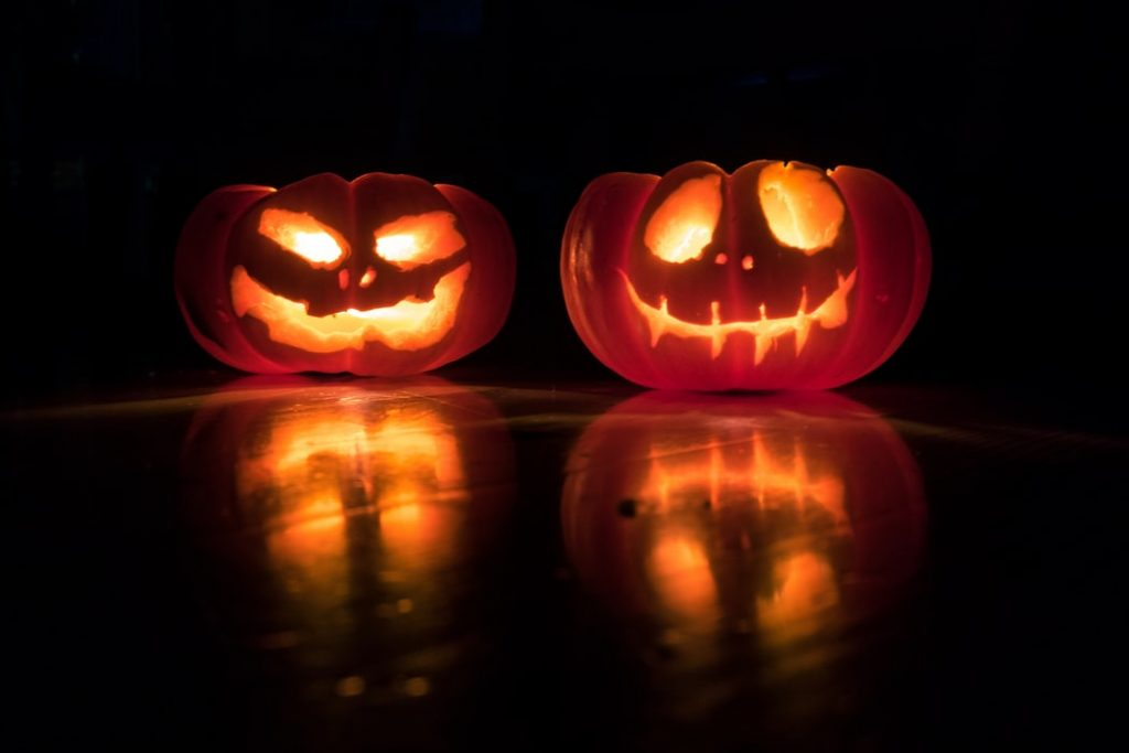 Two glowing jack-o-laterns.