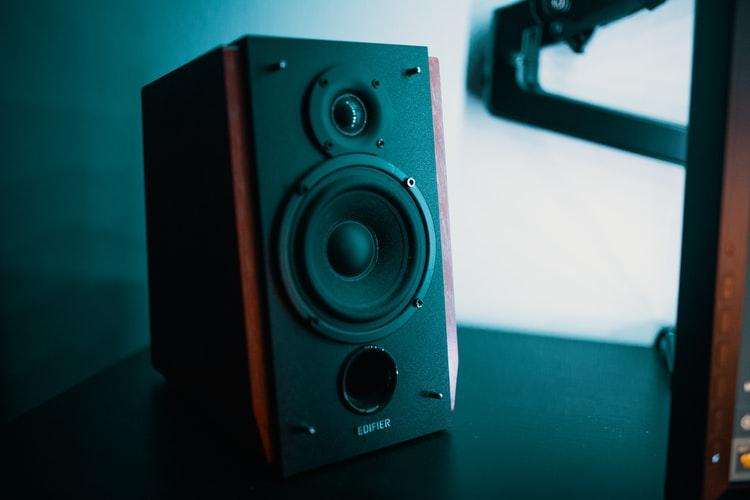 Music speaker on a table