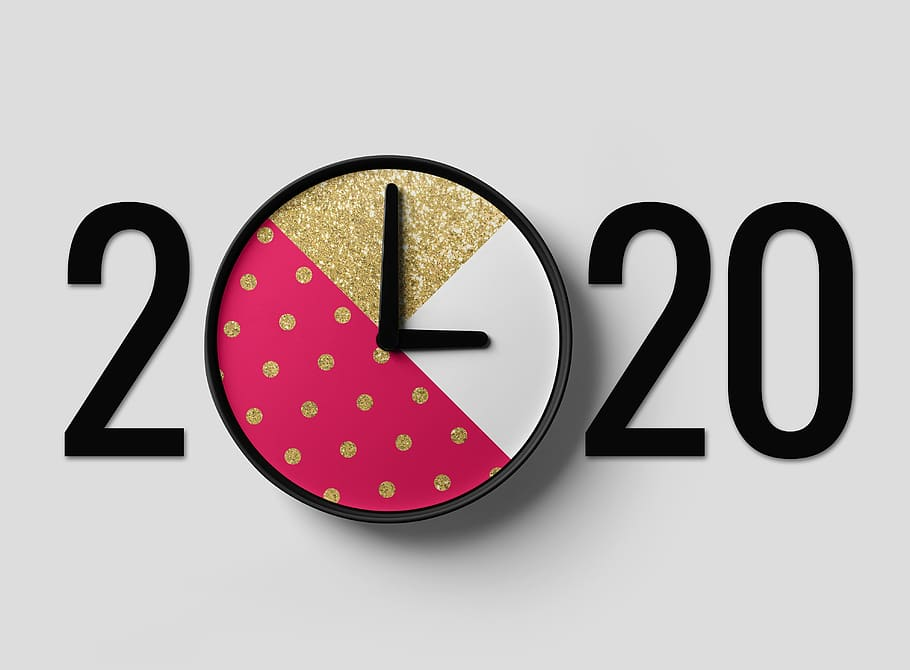 The numbers 2020 where the first zero is shown as a clock.