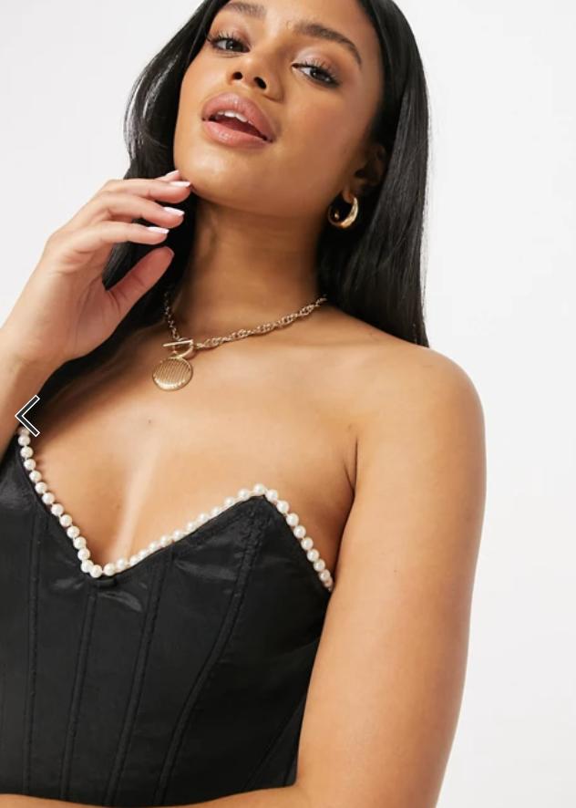 pearl trim corset top