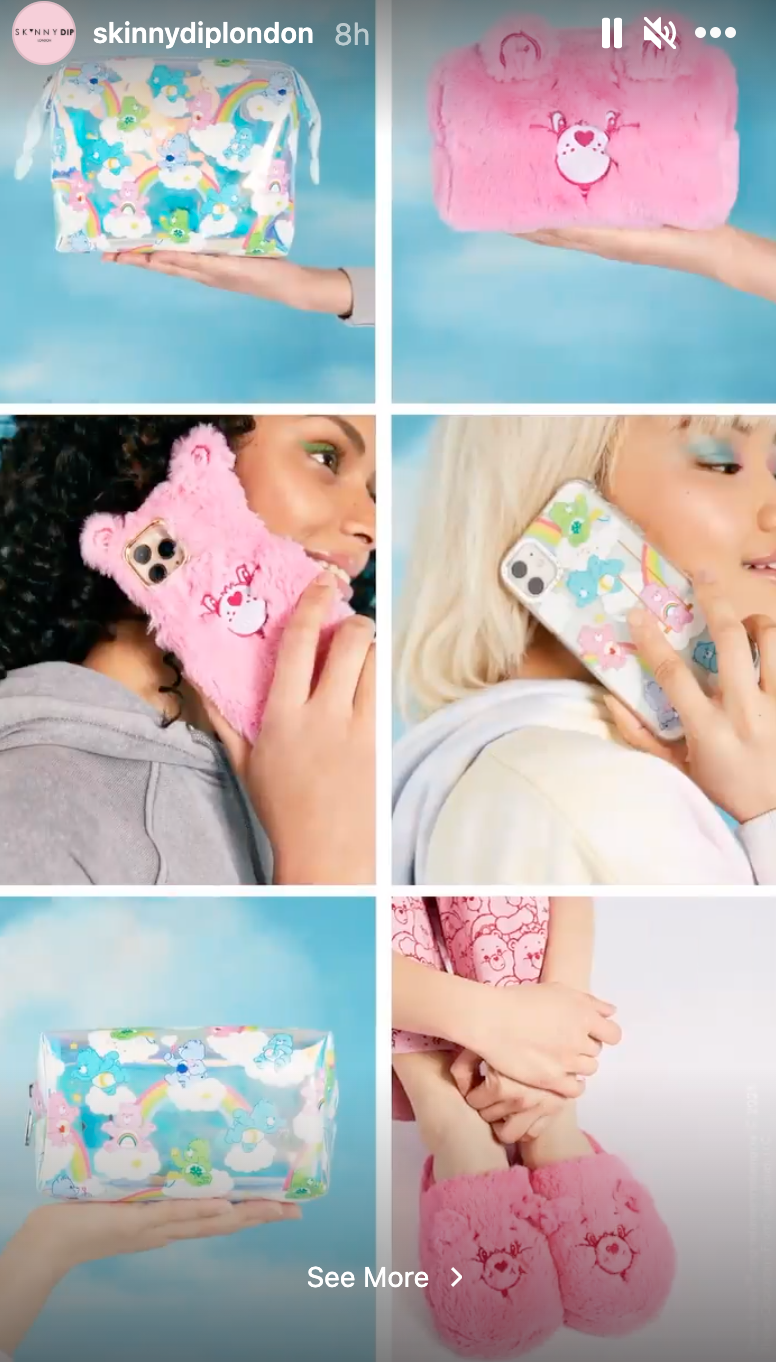 Skinnydip x Care Bears phone cases, slippers and bags